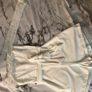 White romper with lace